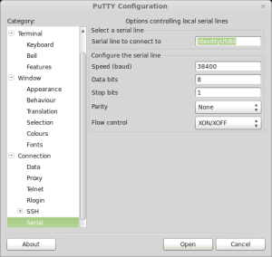 PuTTY serial connection settings